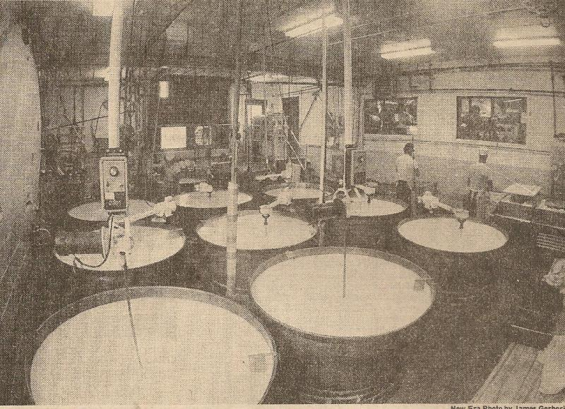 Swiss cheese being made at the original Lancaster County plant.
